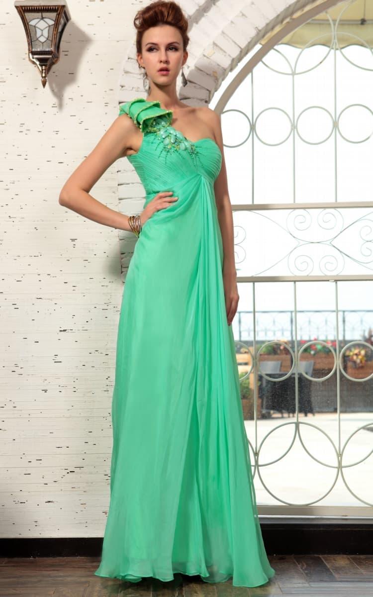 Une épaule Robes Robe De Soirée verte